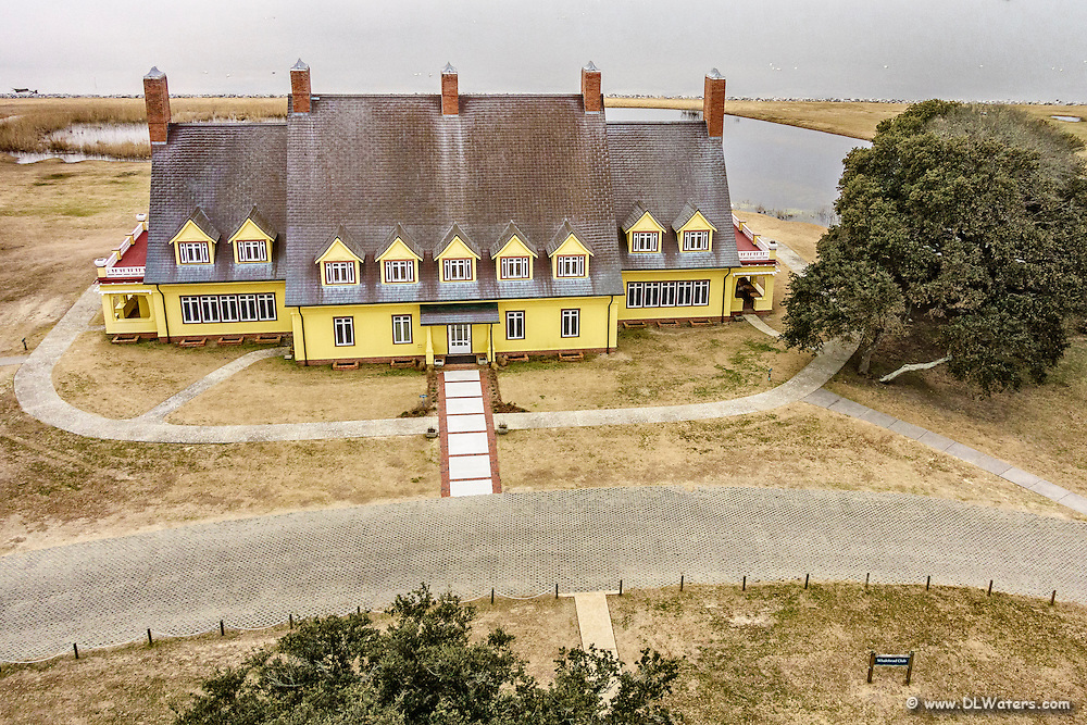 Front aerial view of the Whalehead Club in Corolla on the Outer Banks of NC.