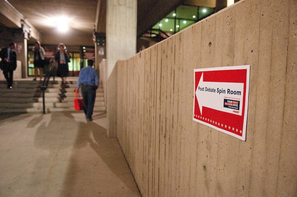 Ames, IA (Aug 11, 2011) - Here's the scene from The Post Debate Spin Room at the Hilton Collesium on the campus of Iowa State University.