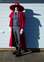 © Licensed to London News Pictures. <br /> 01/11/2014. <br /> <br /> Whitby, Yorkshire, United Kingdom<br /> <br /> Sam Ash from Nottingham is dressed as Dracula as he visits the Whitby Goth Weekend. <br /> <br /> The event this weekend brings together thousands of extravagantly dressed followers of Victoriana, Steampunk, Cybergoth and Romanticism who all visit the town to take part in celebrating Gothic culture. This weekend marks the 20th anniversary since the event was started by local woman Jo Hampshire.<br /> <br /> Photo credit : Ian Forsyth/LNP
