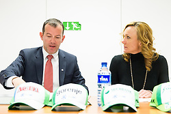 Enzo Smrekar, president of SZS and Petra Majdic during meeting of Executive Committee of Ski Association of Slovenia (SZS) on March 10, 2014 in SZS, Ljubljana, Slovenia. Photo by Vid Ponikvar / Sportida