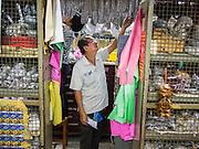 10 JANUARY 2014 - BANGKOK, THAILAND:  A vendor in the amulet market in Bangkok.    PHOTO BY JACK KURTZ