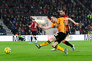 Ruben Neves (8) of Wolverhampton Wanderers shoots at goal but is offside during the Premier League match between Bournemouth and Wolverhampton Wanderers at the Vitality Stadium, Bournemouth, England on 23 November 2019.