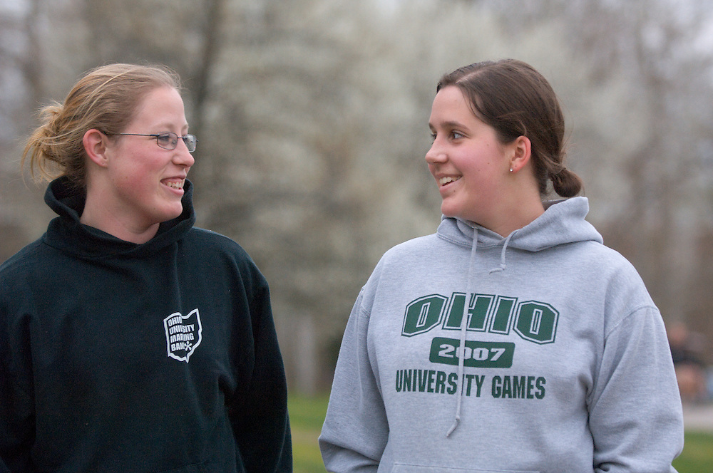 18619Spring campus ..Meghan Schulte and Helen Pipak