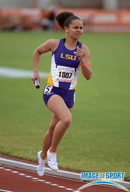Mar 28, 2013; Austin, TX, USA; Samantha Levin runs the third leg on the LSU womens 4 x 800m relay that won in 8:41.25 in the 86th Clyde Littlefield Texas Relays at Mike A. Myers Stadium. Mandatory Credit Kirby Lee-USA TODAY Sports