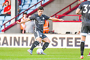 Harry Maguire of Leicester City (15) passes the ball during the Pre-Season Friendly match between Scunthorpe United and Leicester City at Glanford Park, Scunthorpe, England on 16 July 2019.
