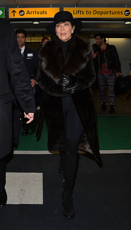Kris Jenner arriving at Heathrow airport in London, UK. 21/01/2015<br />