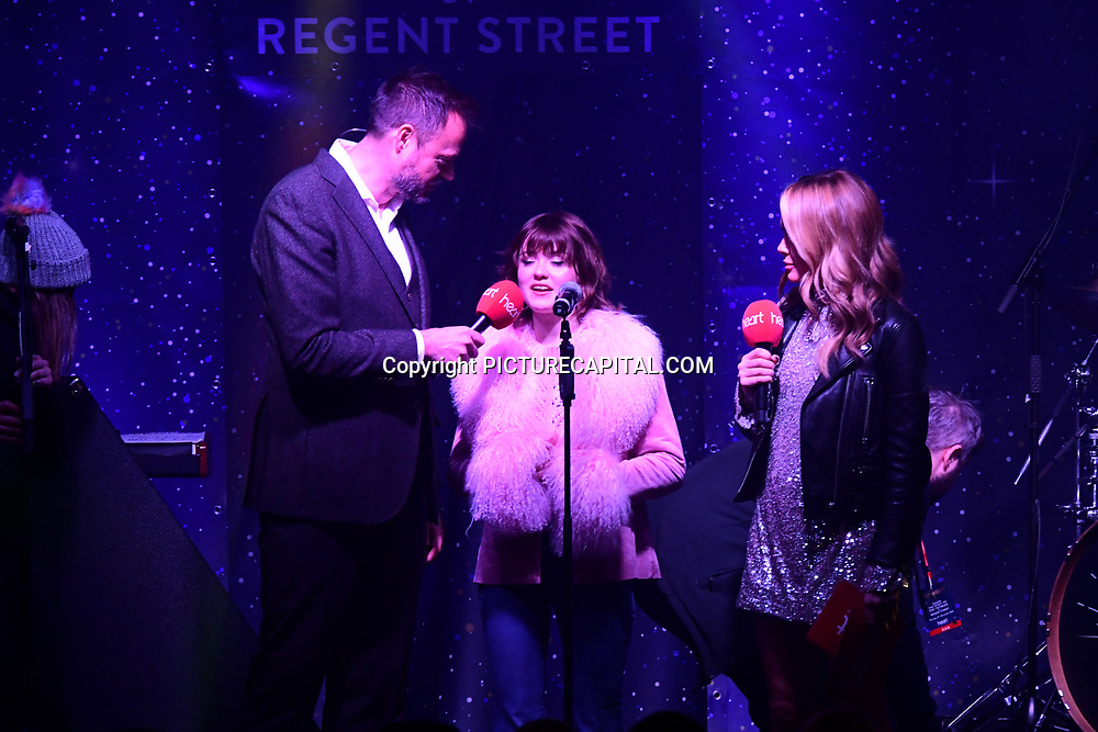 Jamie Theakston, Maisie Peters and Amanda Holden at Regent Street Christmas Lights switch-on celebrate its 200th anniversary on 14 November 2019, London, UK.