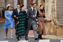 Princess Alexandra of Hanover, Pierre Casiraghi, Beatrice Borromeo, Louis Ducruet, Marie Chevallier are arriving to St Nicholas Cathedral before the solemn mass celebrated by the arcibishop Bernard Barsi, during the National Day ceremonies, Monaco Ville (Principality of Monaco), on November 19, 2019. Photo by Marco Piovanotto/ABACAPRESS.COM