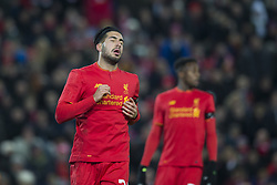 Halbfinale im Liga-Pokal Liverpool vs Leeds 1:0 in Liverpool / 291116<br /> <br /> ***LIVERPOOL, ENGLAND 29TH NOVEMBER 2016:<br /> Liverpool midfielder Emre Can left reacts after a missed opportunity during the English League Cup soccer match between Liverpool and Leeds at Anfield Stadium in Liverpool England November 29th 2016***