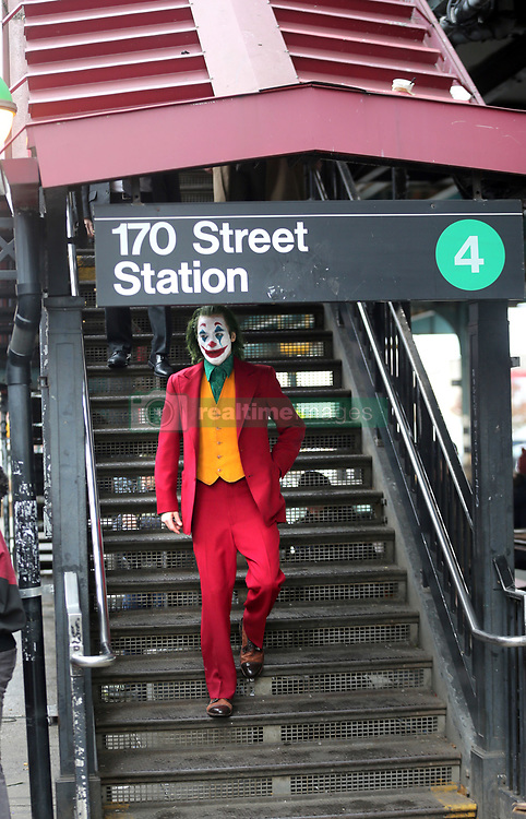 "Joaquin Phoenix Filming Todd Phillips ""The Joker"". 18 Nov 2018 Pictured: Joaquin Phoenix. Photo credit: SteveSands/NewYorkNewswire/MEGA TheMegaAgency.com +1 888 505 6342"