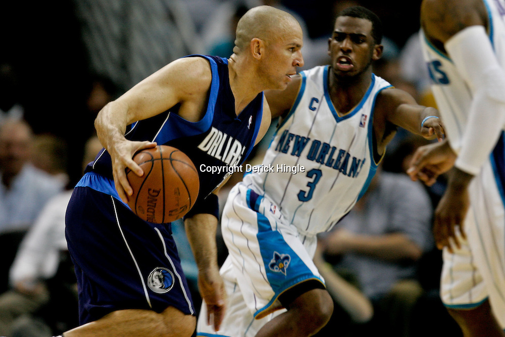 Nov 04, 2009; New Orleans, LA, USA; Dallas Mavericks guard Jason Kidd (2) drives in against New Orleans Hornets guard Chris Paul (3) during the second half at the New Orleans Arena. The Hornets defeated the Mavericks in overtime 114-107.  Mandatory Credit: Derick E. Hingle-US PRESSWIRE