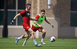 SOUTH BEND, INDIANA, USA - Thursday, July 18, 2019: Liverpool's Andy Robertson (L) and Harry Wilson during a training session ahead of the friendly match against Borussia Dortmund at the Notre Dame Stadium on day three of the club's pre-season tour of America. (Pic by David Rawcliffe/Propaganda)