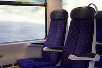 Empty seats on a train in France