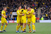 Oxford celebrate the opeming goal to lead Plymouth 1-0 during the Sky Bet League 2 match between Plymouth Argyle and Oxford United at Home Park, Plymouth, England on 5 March 2016. Photo by Graham Hunt.