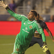 Columbus Crew SC Keeper ZACK STEFFEN (23) attempts make a in the second half of a Major League Soccer match between the Philadelphia Union and Columbus Crew SC Wednesday, July. 26, 2017, at Talen Energy Stadium in Chester, PA.