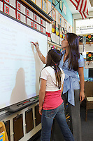 Schoolgirl and teacher standing in front of projection screen