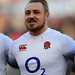 Jack Nowell of England sings the anthem