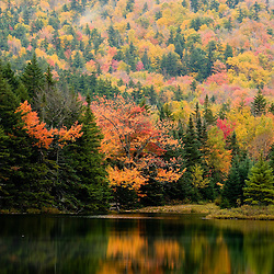 Ammonoosuc Lake in fall in New Hampshire's White Mountains.  White Mountain National Forest.