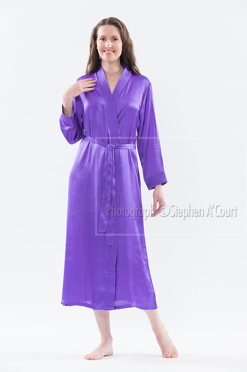Trapunto Trim Satin Robe Purple. Photo credit: Stephen A'Court.  COPYRIGHT ©Stephen A'Court
