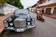 Laos. Luang Prabang. Vintage Mercedes-Benz SL at The Chang Inn.