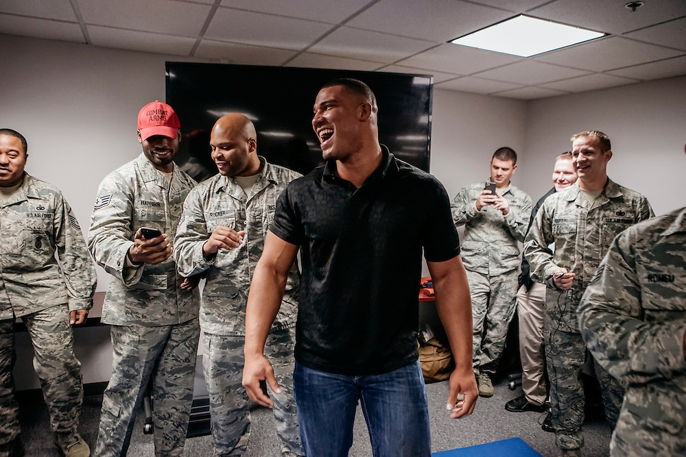 "Prince George's County, MD - December  13, 2016:  WWE star Jason Jordan laughs with members of the US Air Force after being tased during Tribute to the Troops Day at the Joint Base Andrews in Prince George's County, Maryland.  ""That was the longest five seconds of my life,"" Jordan said. WWE Superstars will spend time with members of all five branches of the military.  WWE began Tribute to the Troops in 2003 as a way to honor our servicemen and women and their families.   (Greg Kahn for ESPN)"