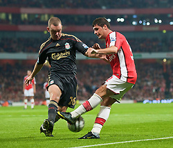LONDON, ENGLAND - Wednesday, October 28, 2009: Liverpool's Jay Spearing and Arsenal's Fran Merida during the League Cup 4th Round match at Emirates Stadium. (Photo by David Rawcliffe/Propaganda)