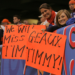 Jan 01, 2010; New Orleans, LA, USA;  Florida Gators fans hold up signs in support of quarterback Tim Tebow (not pictured) during the second half against the Cincinnati Bearcats in the 2010 Sugar Bowl at the Louisiana Superdome. Florida defeated Cincinnati 51-24.  Mandatory Credit: Derick E. Hingle-US PRESSWIRE.