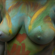 Body painting on over weight nude female with large breasts.<br /> <br /> Body Painting celebrates the unique art form and promotes artistic expression, body acceptance and human connection through art - It&rsquo;s about artistic expression.