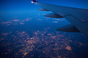 Generic image of aeroplane in flight, twilight evening flight over the United Kingdom
