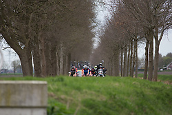 The front group approaches a bridge in the third lap of Stage 3 of the Healthy Ageing Tour - a 154.4 km road race, between  Musselkanaal and Stadskanaal on April 7, 2017, in Groeningen, Netherlands.