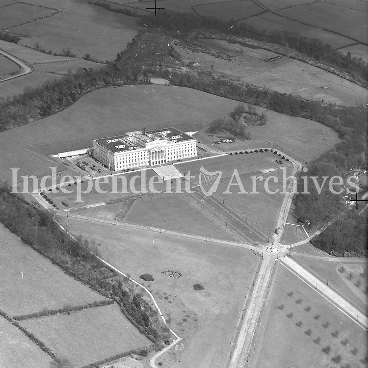 A55 Stormont Belfast.   (N.D.) (Part of the Independent Newspapers Ireland/NLI collection.)<br /> <br /> <br /> These aerial views of Ireland from the Morgan Collection were taken during the mid-1950's, comprising medium and low altitude black-and-white birds-eye views of places and events, many of which were commissioned by clients. From 1951 to 1958 a different aerial picture was published each Friday in the Irish Independent in a series called, 'Views from the Air'.<br /> The photographer was Alexander 'Monkey' Campbell Morgan (1919-1958). Born in London and part of the Royal Artillery Air Corps, on leaving the army he started Aerophotos in Ireland. He was killed when, on business, his plane crashed flying from Shannon.