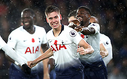 Tottenham Hotspur's Juan Foyth (centre) celebrates scoring his side's first goal of the game with team-mates during the Premier League match at Selhurst Park, London.
