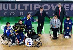 Wheelchair basketball awards during halftime at final match of Basketball NLB League at Final four tournament between KK Union Olimpija (SLO) and Partizan Belgrade (SRB), on April 21, 2011 in Arena Stozice, Ljubljana, Slovenia. Partizan defeated Union Olimpija 77-74 and became NLB league Champion 2011.  (Photo By Vid Ponikvar / Sportida.com)