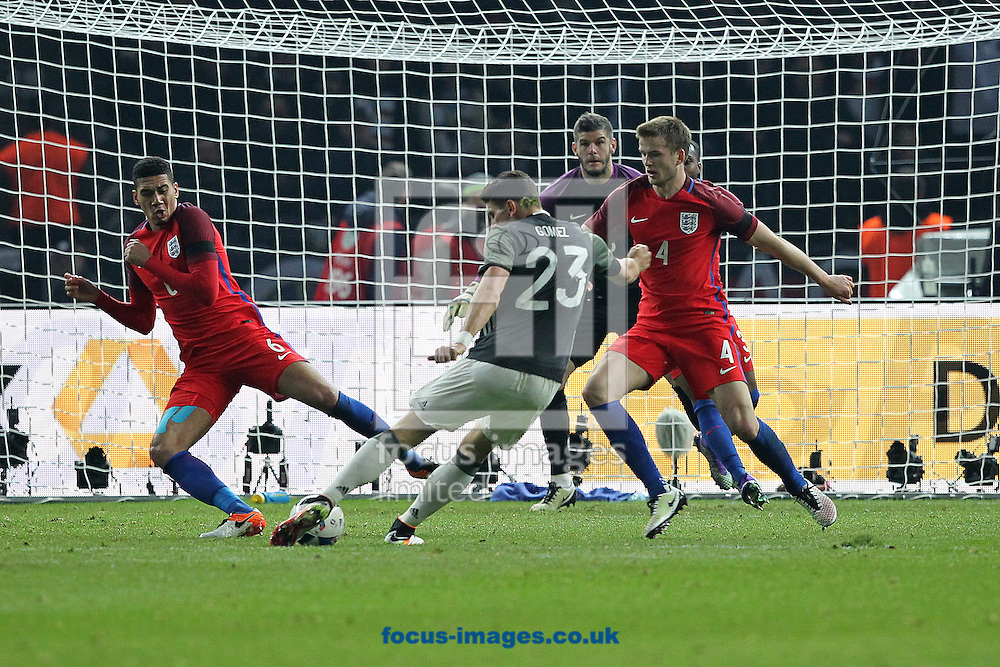Mario Gomez of Germany has a shot on goal during the International Friendly match at Olympiastadion Berlin, Charlottenburg-Wilmersdo<br /> Picture by Paul Chesterton/Focus Images Ltd +44 7904 640267<br /> 26/03/2016