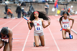 April 27, 2018 - Philadelphia, Pennsylvania, U.S - CAMRI AUSTIN of Oklahoma University  in action during the CW 4x100 Championship of America at the 124th running of the Penn Relays at Franklin Field in Philadelphia PA (Credit Image: © Ricky Fitchett via ZUMA Wire)
