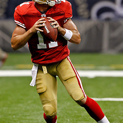August 12, 2011; New Orleans, LA, USA; San Francisco 49ers quarterback Alex Smith (11) prior to kickoff of a preseason game against the New Orleans Saints at the Louisiana Superdome. Mandatory Credit: Derick E. Hingle