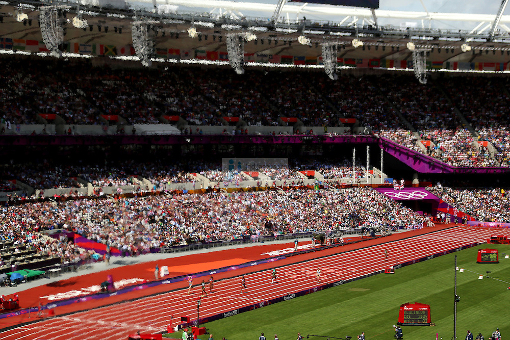 A general view of a women's 400m heat during the track and field event at the Olympic Stadium during day 6 of the London Olympic Games in London, England, United Kingdom on August 3, 2012..(Jed Jacobsohn/for The New York Times)..