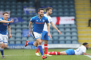 GOAL Bradden Inman celebrates scoring 1-0 during the EFL Sky Bet League 1 match between Rochdale and Portsmouth at Spotland, Rochdale, England on 7 April 2018. Picture by Daniel Youngs.
