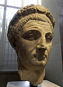 Sculpted head of The Emperor Claudius (Emperor 41-54 AD). Marble. Thasos. Circa 45-54 AD.