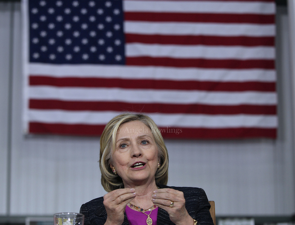 (Hampton, NH - 5/22/15) Former Secretary of State and presidential candidate Hillary Clinton speaks during a roundtable discussion with small business owners at Smuttynose Brewery, Friday, May 22, 2015. Staff photo by Angela Rowlings.
