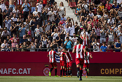 August 15, 2017 - Girona, Spain - 09 Portu from Spain of Girona FC celebrating his goal with his team mates during the Costa Brava Trophy match between Girona FC and Manchester City at Estadi de Montilivi on August 15, 2017 in Girona, Spain. (Credit Image: © Xavier Bonilla/NurPhoto via ZUMA Press)