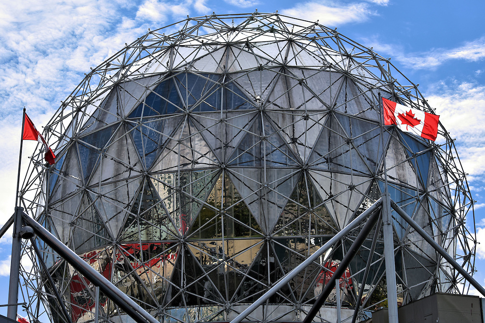 Science World Geodesic Dome in Vancouver, Canada <br /> This impressive geodesic dome at the east end of False Creek became an instant Vancouver landmark when it was built as the Expo Center for the 1986 World&rsquo;s Fair.  It was then transformed into Science World, a non-profit museum.  After a Canadian telecommunications company made a sizeable donation in 2005, the science center became the Telus World of Science.  Despite all of its name changes, I just call it stunning.