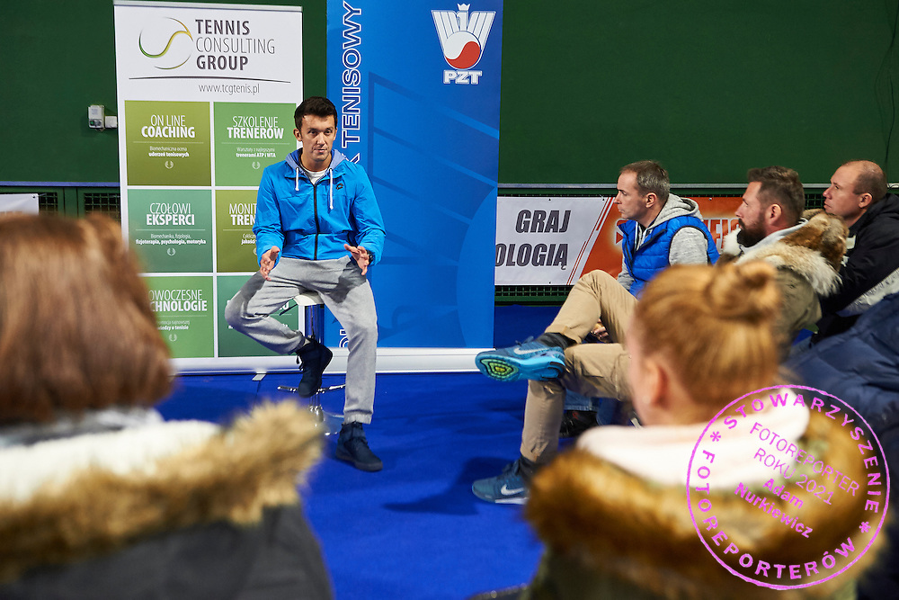 Dawid Celt trainer coach and boyfriend of Agnieszka Radwanska speaks during PZT - Trainer's Conference of Polish Tennis Association at Mera Hall in Warsaw, Poland.<br /> <br /> Poland, Warsaw, November 28, 2015<br /> <br /> Picture also available in RAW (NEF) or TIFF format on special request.<br /> <br /> Any editorial, commercial or promotional use requires permission.<br /> <br /> Adam Nurkiewicz declares that he has no rights to the image of people at the photographs of his authorship.<br /> <br /> Mandatory credit:<br /> Photo by &copy; Adam Nurkiewicz / Mediasport
