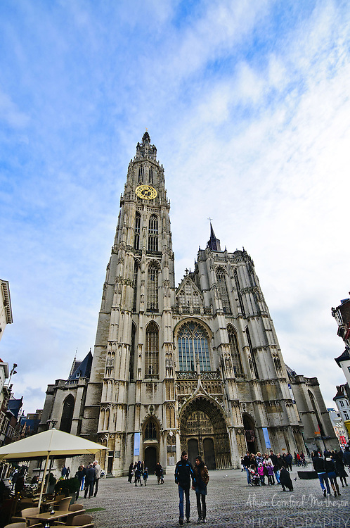 The Cathedral of Our Lady, or Onze-Lieve-Vrouwekathedraal in Dutch, is located in Antwerp, Belgium.