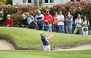 Eddie PEPPERELL chipping from a bunker on the 18th during the 4th day of the BMW PGA Championship at Wentworth, Virginia Water, United Kingdom on 24 May 2015. Photo by Ellie  Hoad.