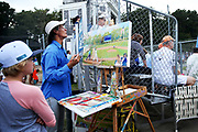 Jim Freeheart paints a scene of game one of the Cape Cod League Championship Series between the Bourne Braves and the Brewster Whitecaps at Stony Brook Field on August 11, 2017 in Brewster, Massachusetts.