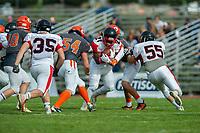 KELOWNA, BC - OCTOBER 6: Okanagan Sun defensive lineman Cory McCoy #54 tackles Vancouver Island Raiders quarterback Andre Goulbourne #21 during the second quarter of  BCFC regular season at the Apple Bowl on October 6, 2019 in Kelowna, Canada. (Photo by Marissa Baecker/Shoot the Breeze)