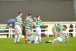 Castlebar Celtic's players disappointed after the penatty shootout at the Connaught Cup final.<br /> Pic Conor McKeown