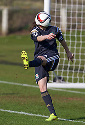 CHESTER, ENGLAND - Sunday, April 5, 2015: Wales' Nicola Cousins takes a drink during a training session at the Carden Park Hotel ahead of a friendly match against Slovakia. (Pic by David Rawcliffe/Propaganda)