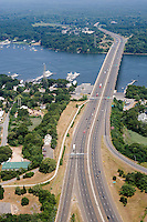 Aerial of Baldwin Bridge, I-95, across the Connecticut River between Old Saybrook and Old Lyme, CT